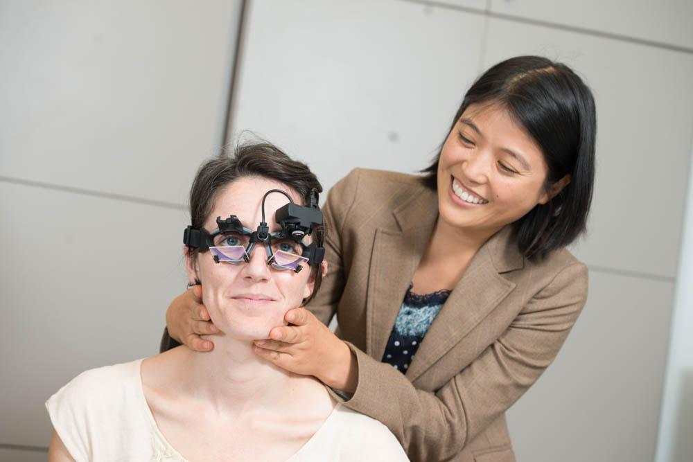 Drs. Tamaki and Marcinkus demonstrate vestibular test